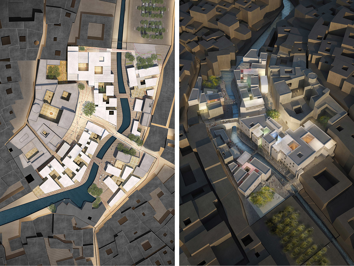 Acknowledgement Prize: Urban precinct reconstruction and rehabilitation, Fez, Morocco by mossessian & partners, United Kingdom in collaboration with Yassir Khalil Studio, Morocco: Site plan and aerial view.