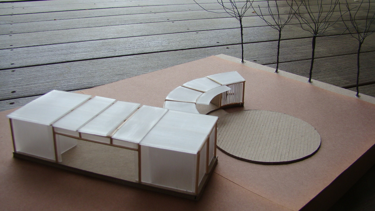 Study model, view from the enclosed stage