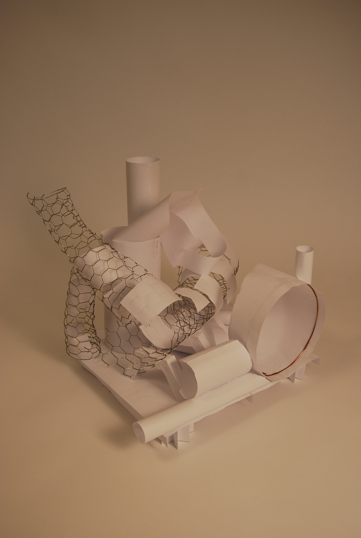 Refined concept model in rolled paper and wire mesh