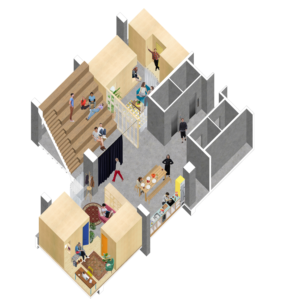 An axonometric of a typical floor in the hi-rise proposal, which is described as a light touch, affordable solution that treats all intervention as varying weights of furniture, [which] allows us to establish a horizontal hierarchy from communal to individual space. Credit: ED/GY