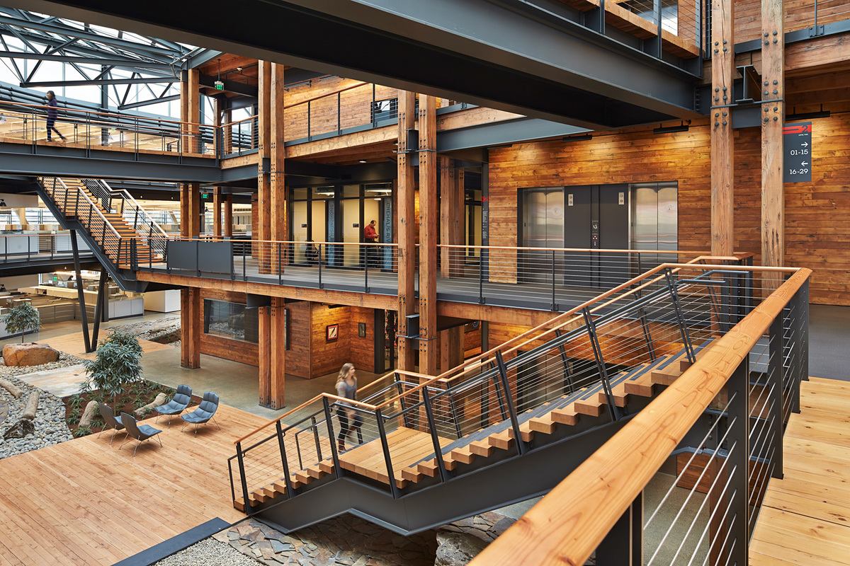 Commercial Wood Design: Federal Center South – Building 1202 in Seattle, WA. Architect – ZGF Architects LLP. Photo © Benjamin Benschneider