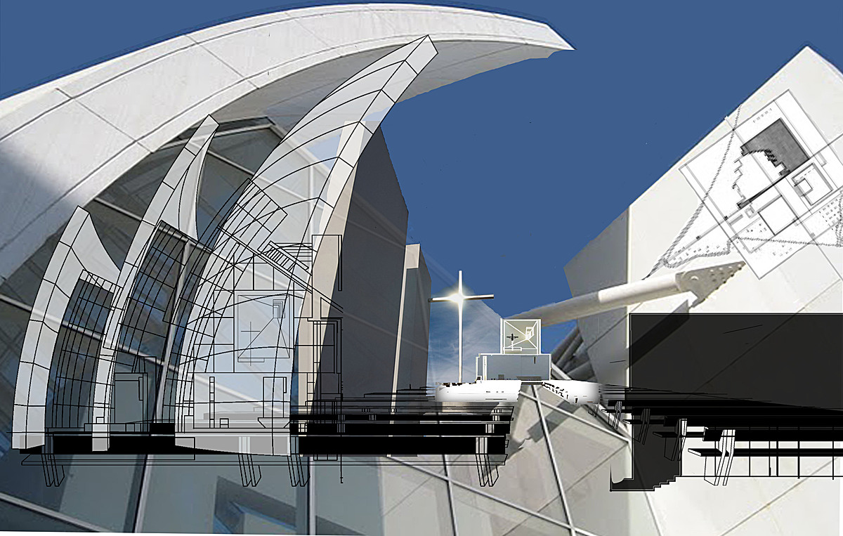 Richard meier 39 s jubilee church cad collage benjamin sm for The jubilee church