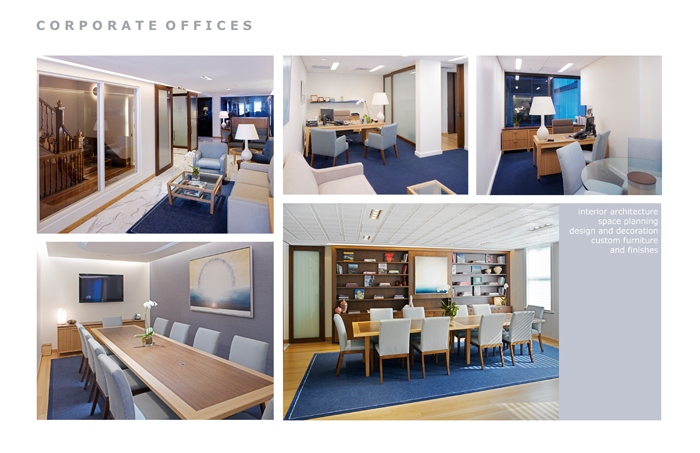 Entrance and reception, conference rooms and offices