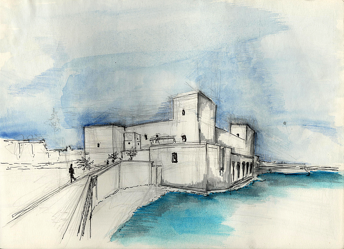 Trani fort , Trani Italy (water colour + ink)
