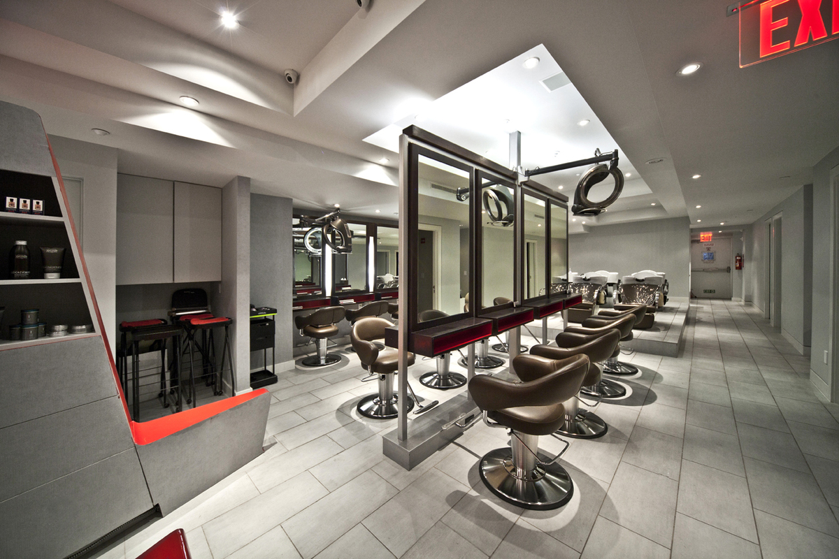 Pass through mirrors in the drying chairs maintain the clean, open atmosphere.