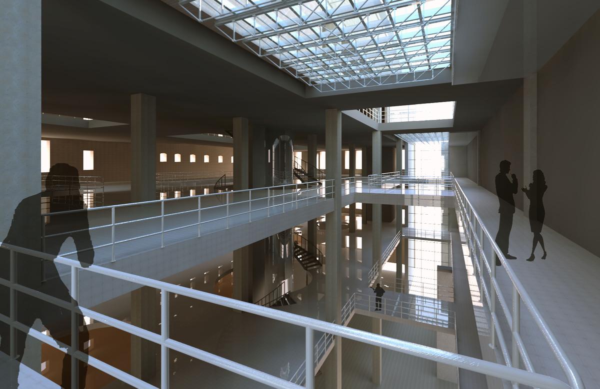 New three floor atrium space; mimicing existing building