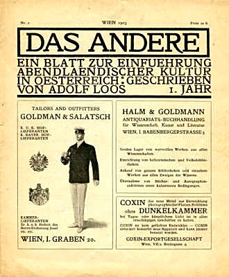 Figure 11 - Adolf Loos, advertisement for Goldmann and Salatsch in Das Andere