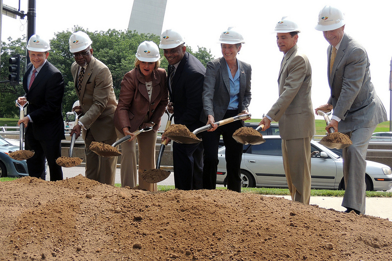 Officials from the U.S. Dept. of Transportation break ground as the plan's construction begins. Photo courtesy of MoDOT flickr.
