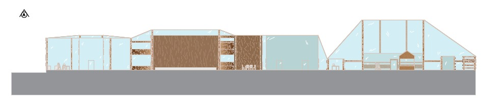 A section through the counseling half of the building on the right side. It shows the variety in the roof elevation and the size and heights of the individual rooms within