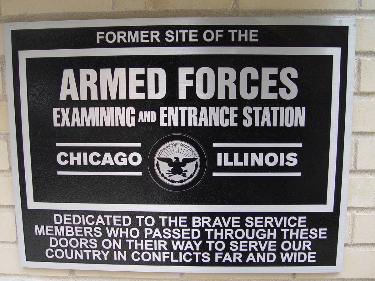 Plaque commemorating the former Examining and Entrance Station for the US Armed forces, my responsibility altogether.