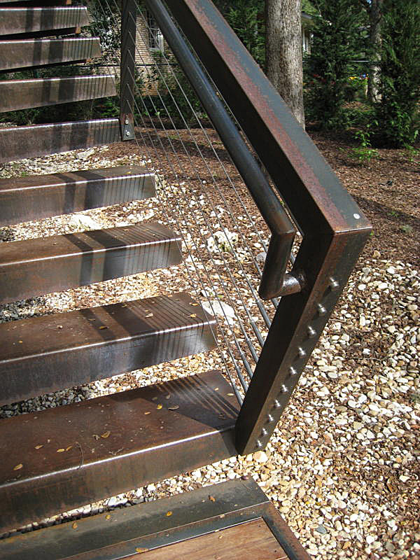 Exterior residential stair and railing. Fabricated while working at Cottam Hargrave.