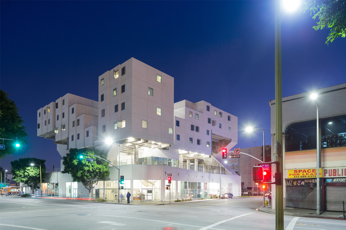 Michael Maltzan's Star Apartments in Los Angeles provides 102 units for housing the homeless. Image via Michael Maltzan Architects.