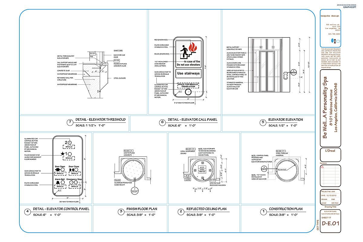 D-E.01 Elevator Plans, Elevations + Details