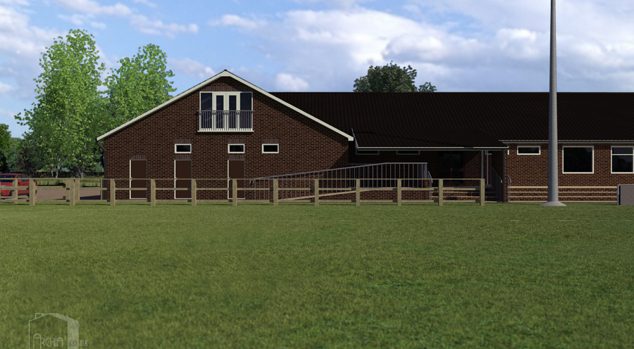 View of pitch-side access to changing rooms and covered entrance to main function room.