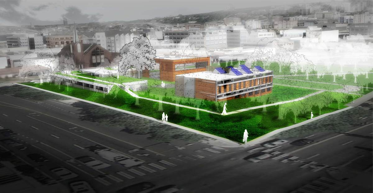 Perspective from Denny & Dexter showing the backside of P&R offices and green roof of community center