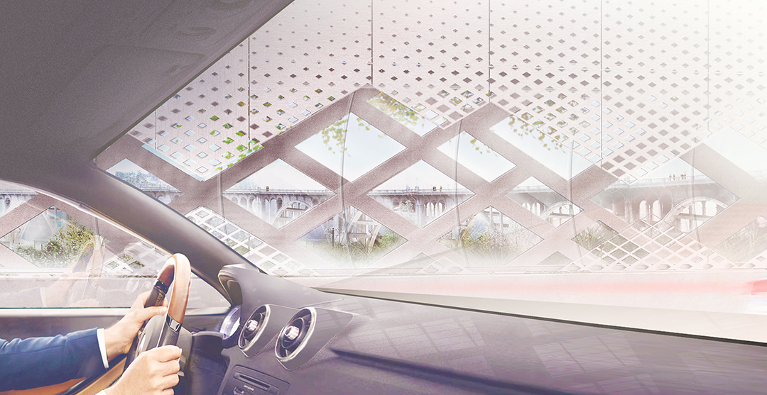 Green cruising: the view of the proposed overlay through a vehicle. Image: Michael Maltzan Architecture