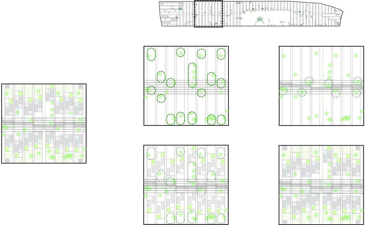 Casas de La Esperanza 2 Master Plan as a set of rules around tree location. Project a collaboration between Quilian Riano, DSGN AGNC; Teddy Cruz and Cesar Fabela, Estudio Teddy Cruz; and Landscape Architect Simon Bussiere and his 2011 Ball State Landscape Architecture Studio. Courtesy of the...
