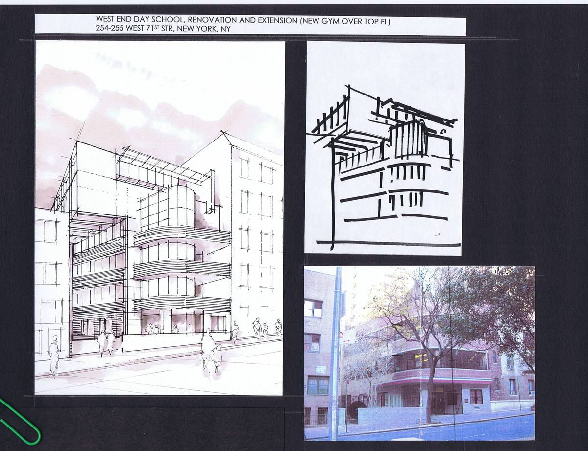 First Sketch, Perspective and photo of existing building