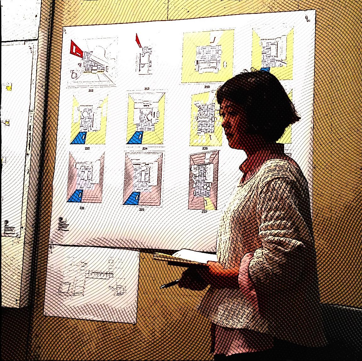 Shu Zhao Presenting her drawings