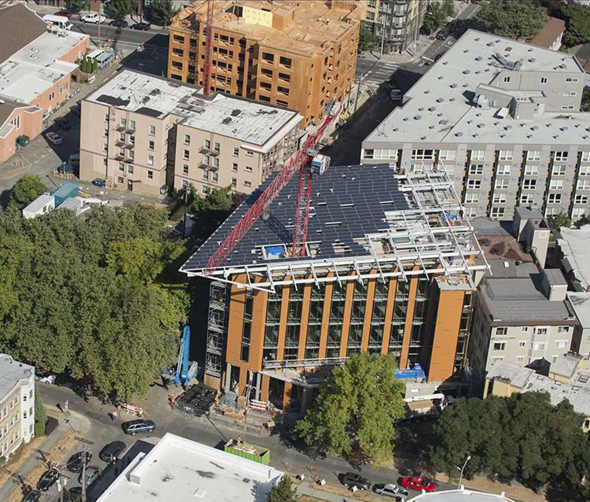 Aerial view of the building under construction