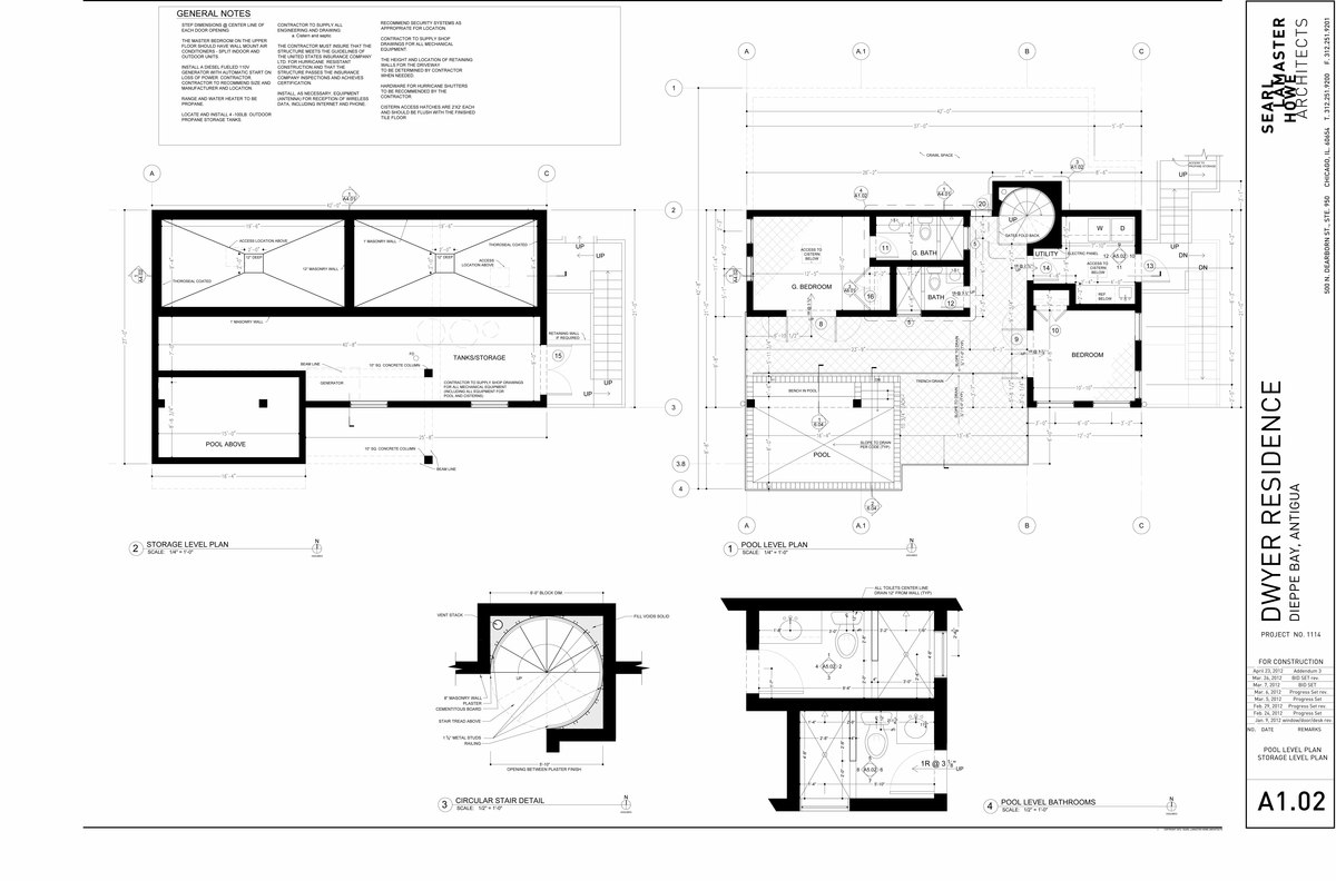 Dwyer Residence - Pool and Cistern Level Plans