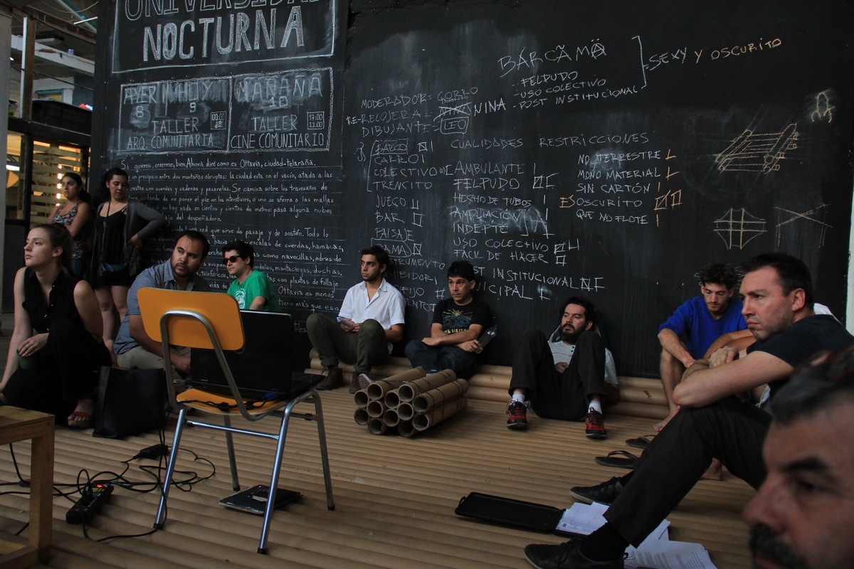 A session of the Night School institution that was part of TOMAs La Ocupación project. Credit: TOMA