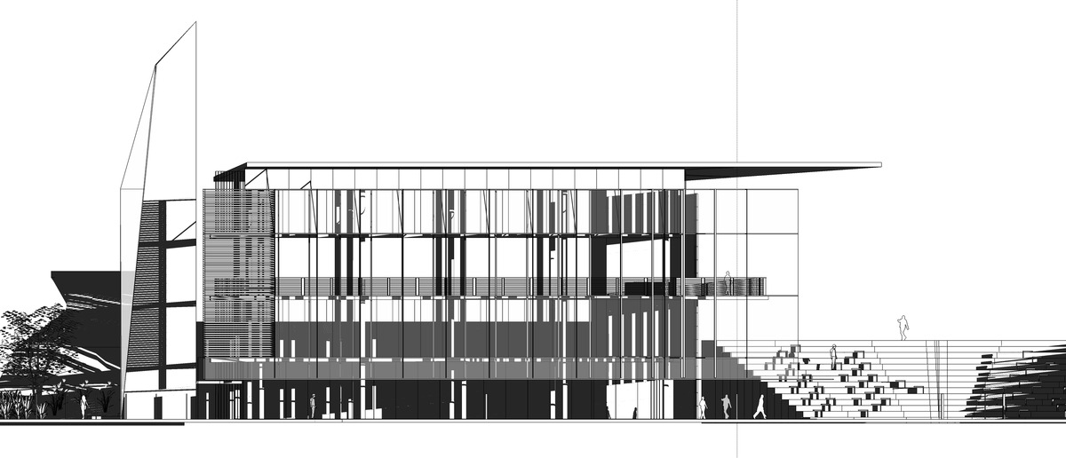 Library - Northwest Elevation