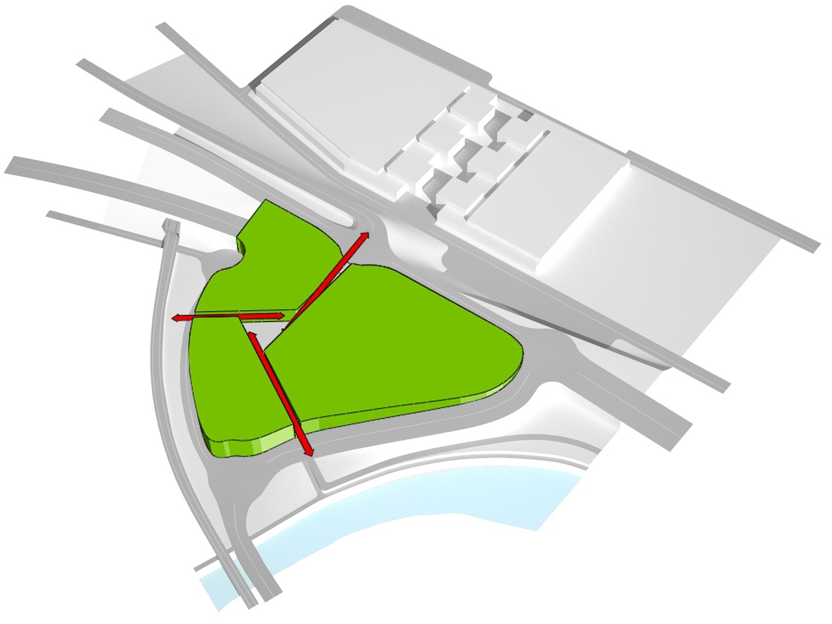 The guidelines of the main pedestrian fluxes (the link to the interchange station, the axis to La Naval and the connection to the new riverside promenade) identify three sub-areas and a new central square
