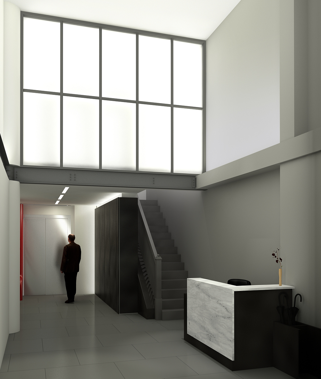 Final front lobby rendering view: A
