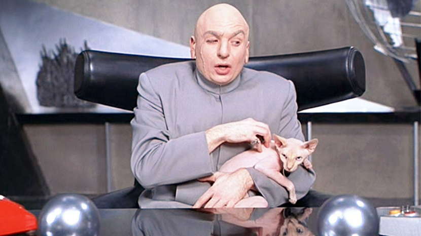 Ridiculous, overstuffed, unfashionably retro: Dr. Evil and his chair. Image via filmandfurniture.com.