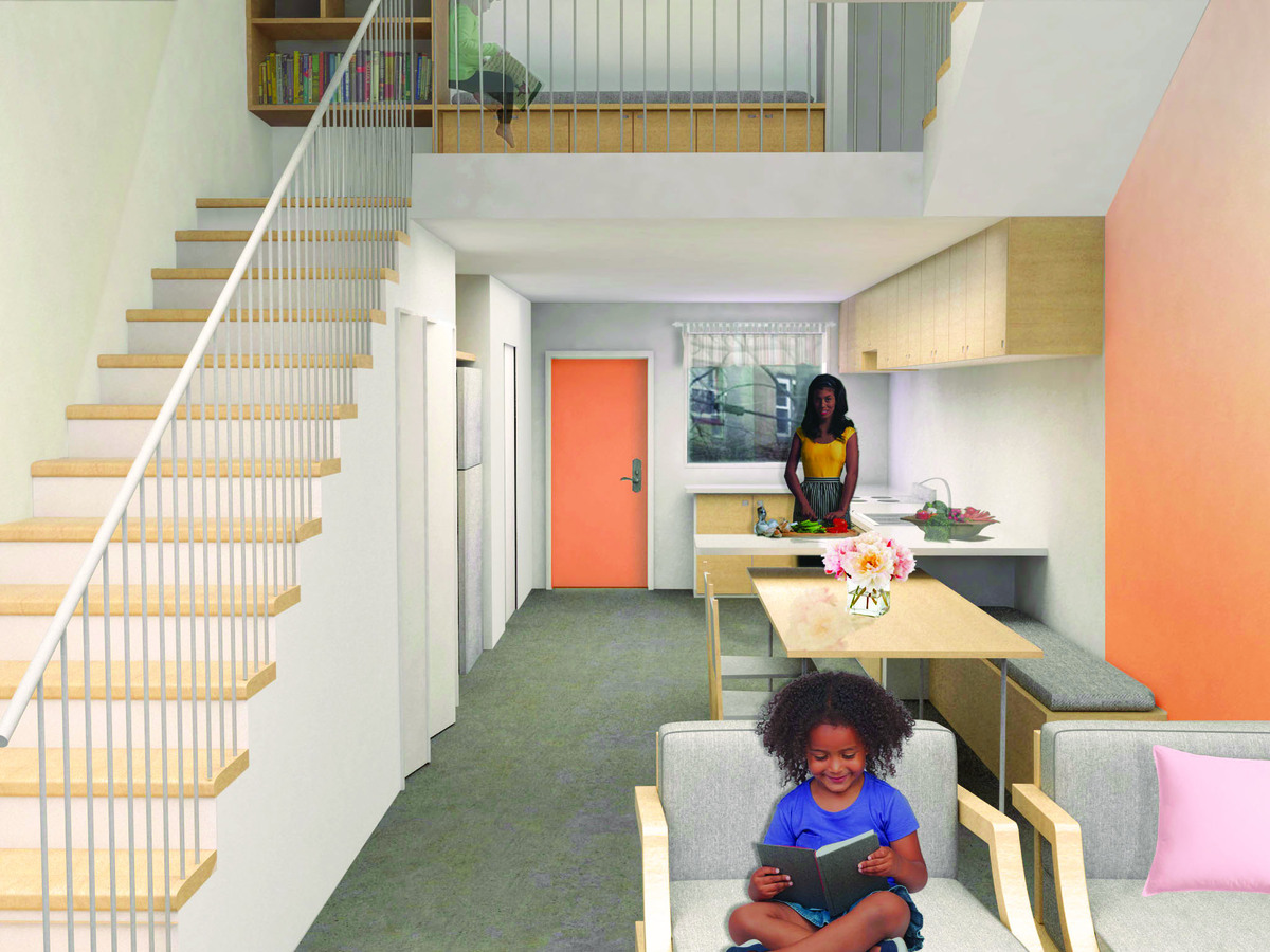 An open ground floor intersects with the light well.