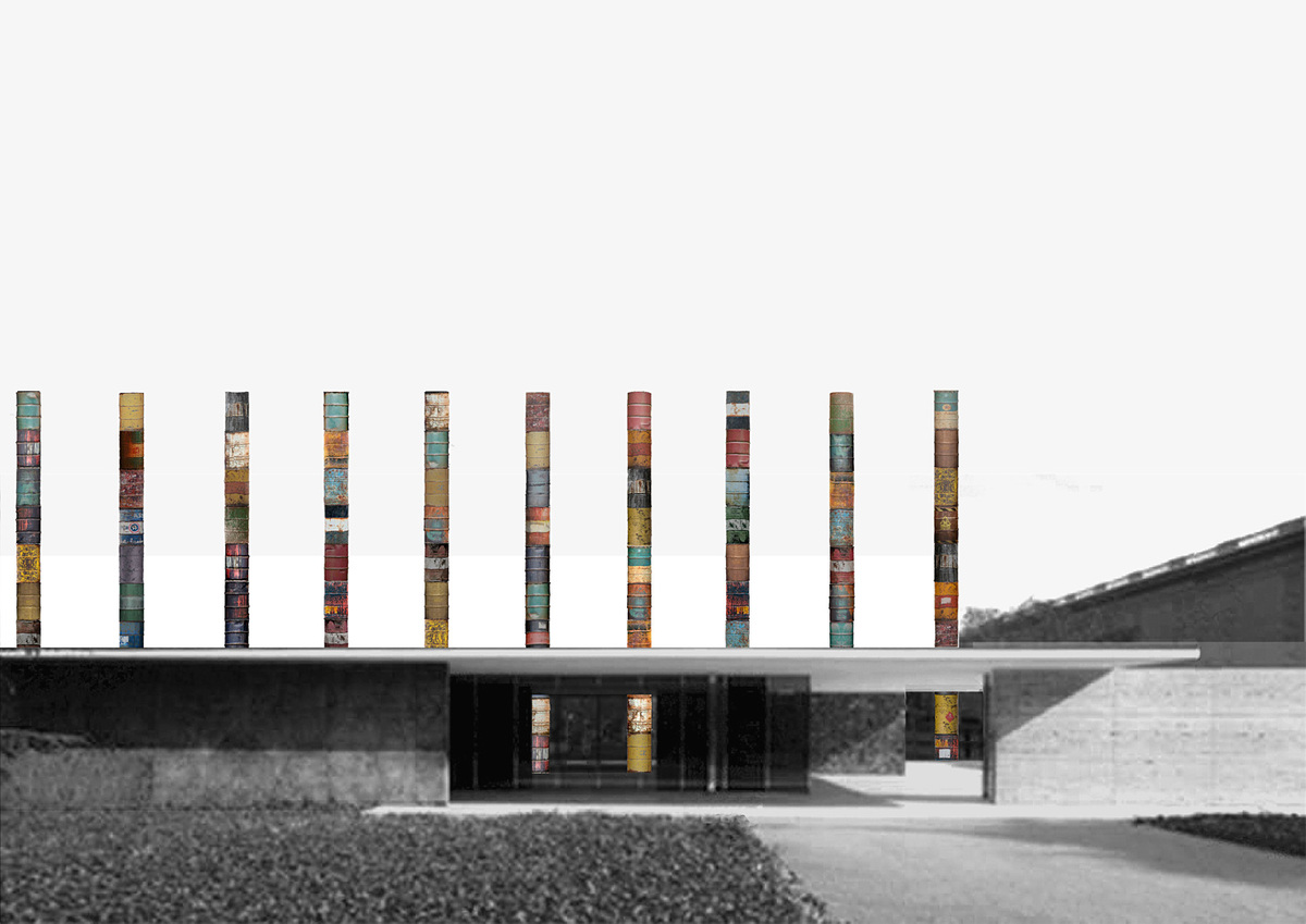Mies van der Rohe's timeless Barcelona Pavilion columns will get a momentary