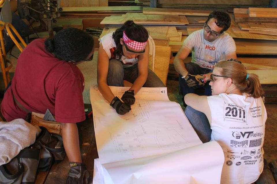 Students preparing to construct a component of the third-year design/build lab project of a farmers market in Covington, Va.