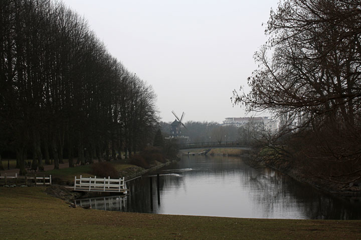 Malmö windmill on a lake