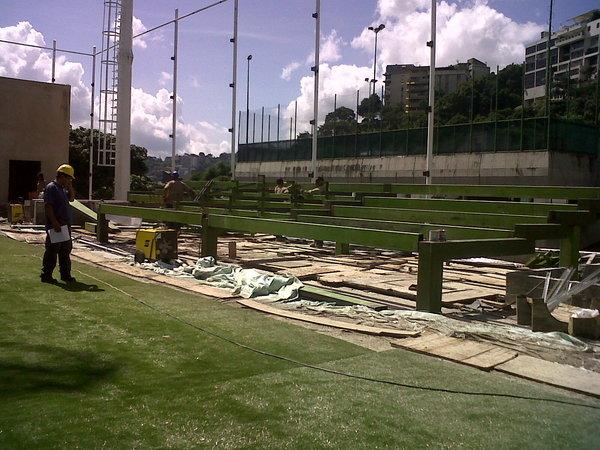Bleachers under construction