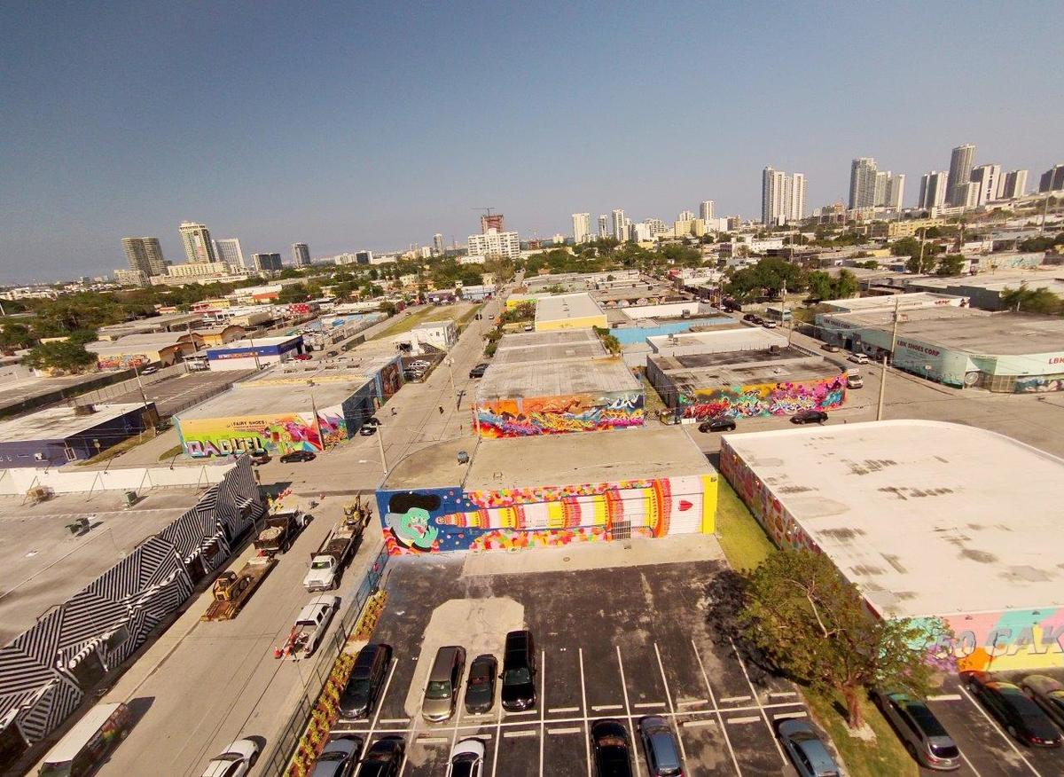 Aerial of Miamis Wynwood district, courtesy of Goldman Properties.