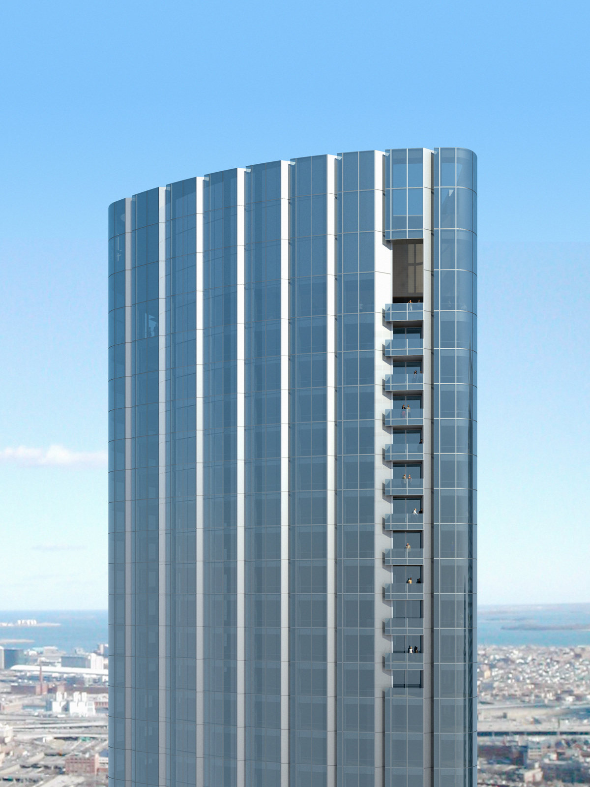 Upper floors of Four Seasons Private Residences feature open-air balconies