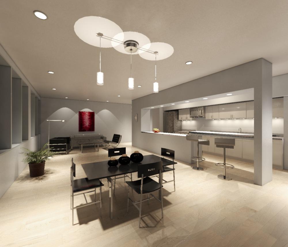 Nighttime rendering showing living/dining, kitchen