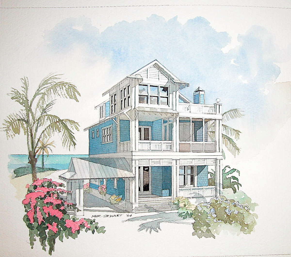 water color of family central by mur stewart - Coastal Home Design