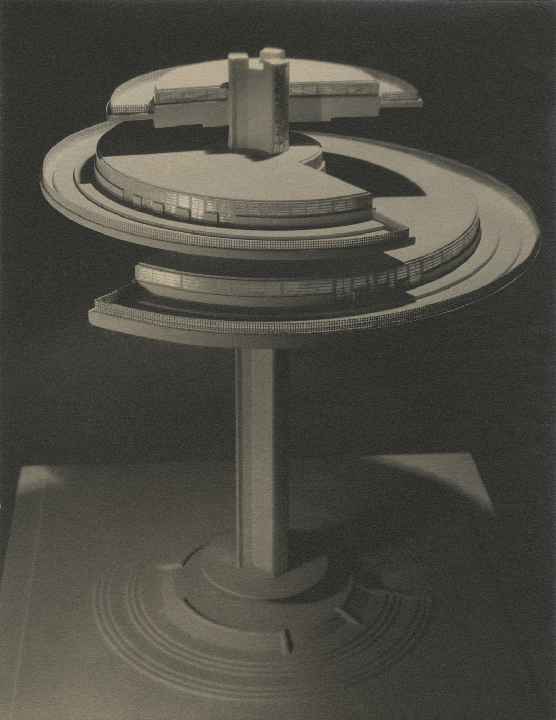 Maurice Goldberg. Norman Bel Geddes's model of the Aerial Restaurant, ca. 1930. Image courtesy of the Edith Lutyens and Norman Bel Geddes Foundation / Harry Ransom Center