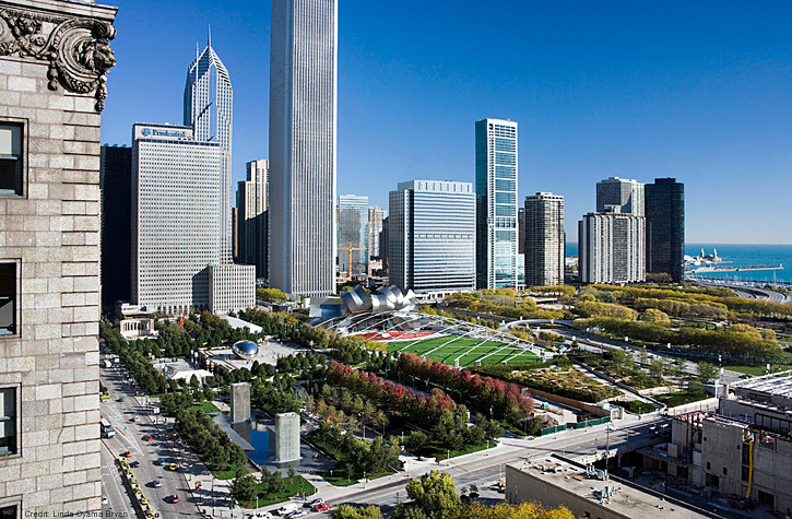 Gustafson Guthrie Nichol: Lurie Garden, part of Millennium Park, in Chicagos historic Grant Park (Photo: Linda Oyama Bryan)