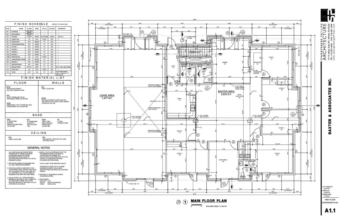 Baxter Ground Floorplan, Notes, & Finish Schedules