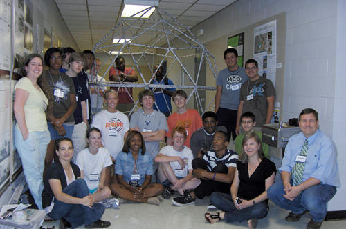 Students pose with their geodesic dome during the Architecture Summer Camp. Photo: brg3s.