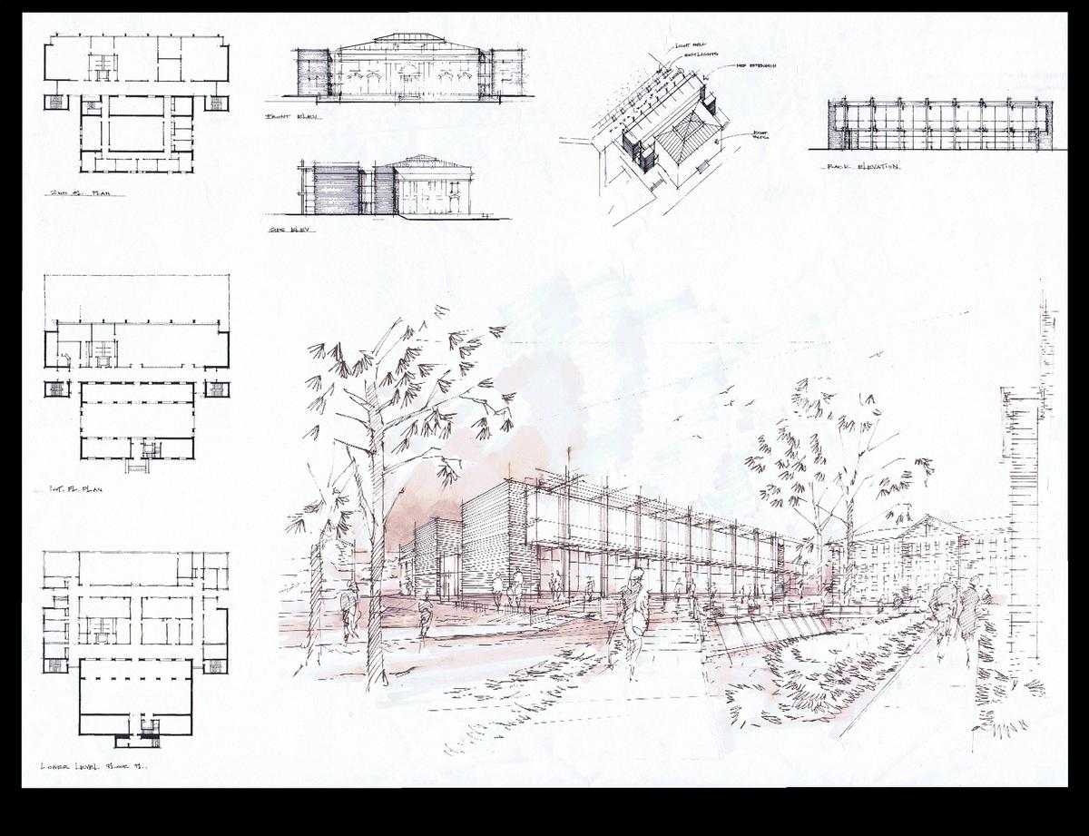 Floor Plans, Elevations and perspective of the new addition.