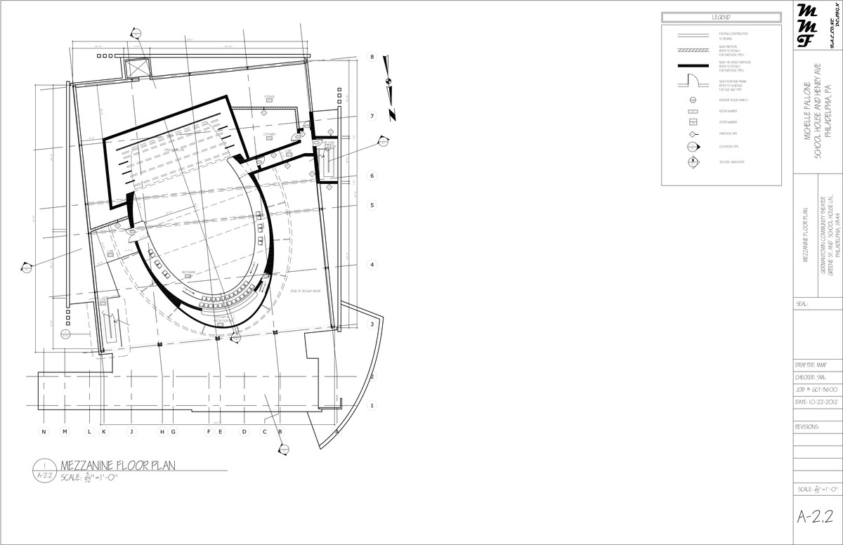 The red ruby community theater construction documentation for Mezzanine floor plan