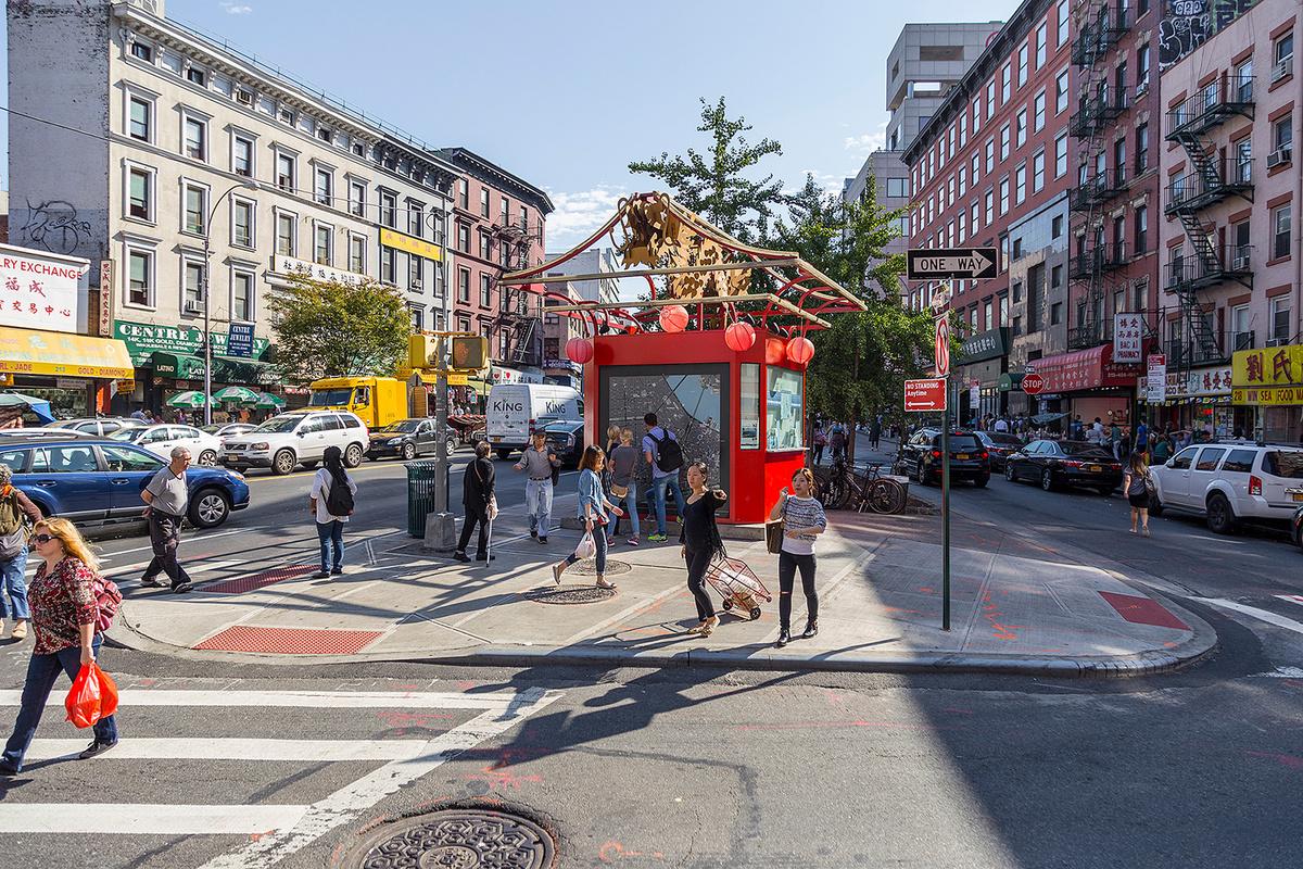 Canal Street Triangle gateway in Chinatown, New York City. Photo credit: Sigurjon Gudjonsson, NYC DOT.