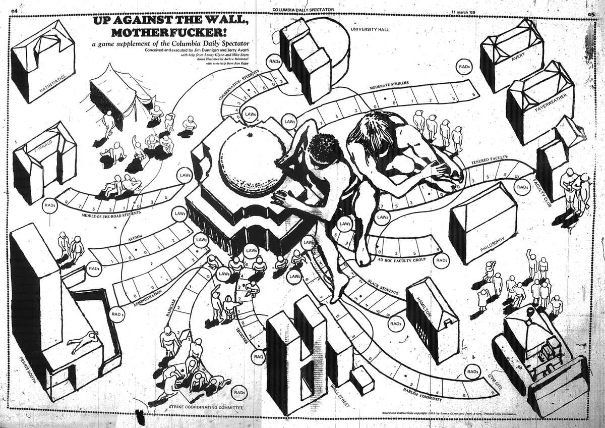 Up Against the Wall, Motherfucker by Jim Dunnigan. A game supplement to the March 11, 1969 issue of the Columbia Spectator. Image used with permission from Jim Dunnigan