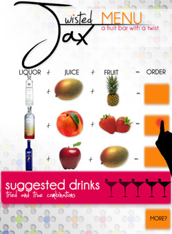 Twisted Jax Touch Screen Menu Close Up: Suggested Drinks Menu: Adobe Photoshop.