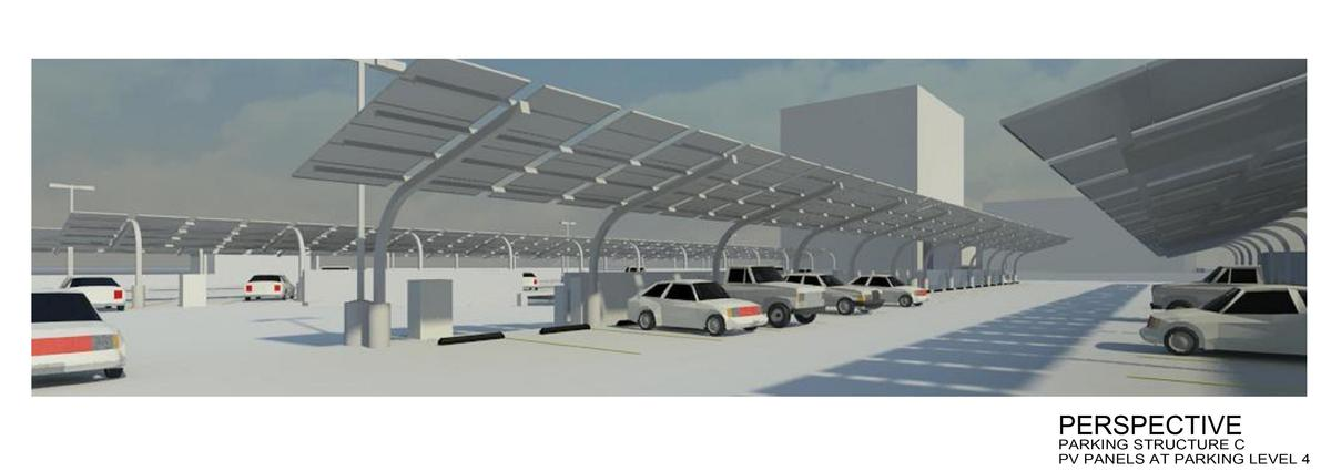 Introduce new sustainable elements into the existing parking structure