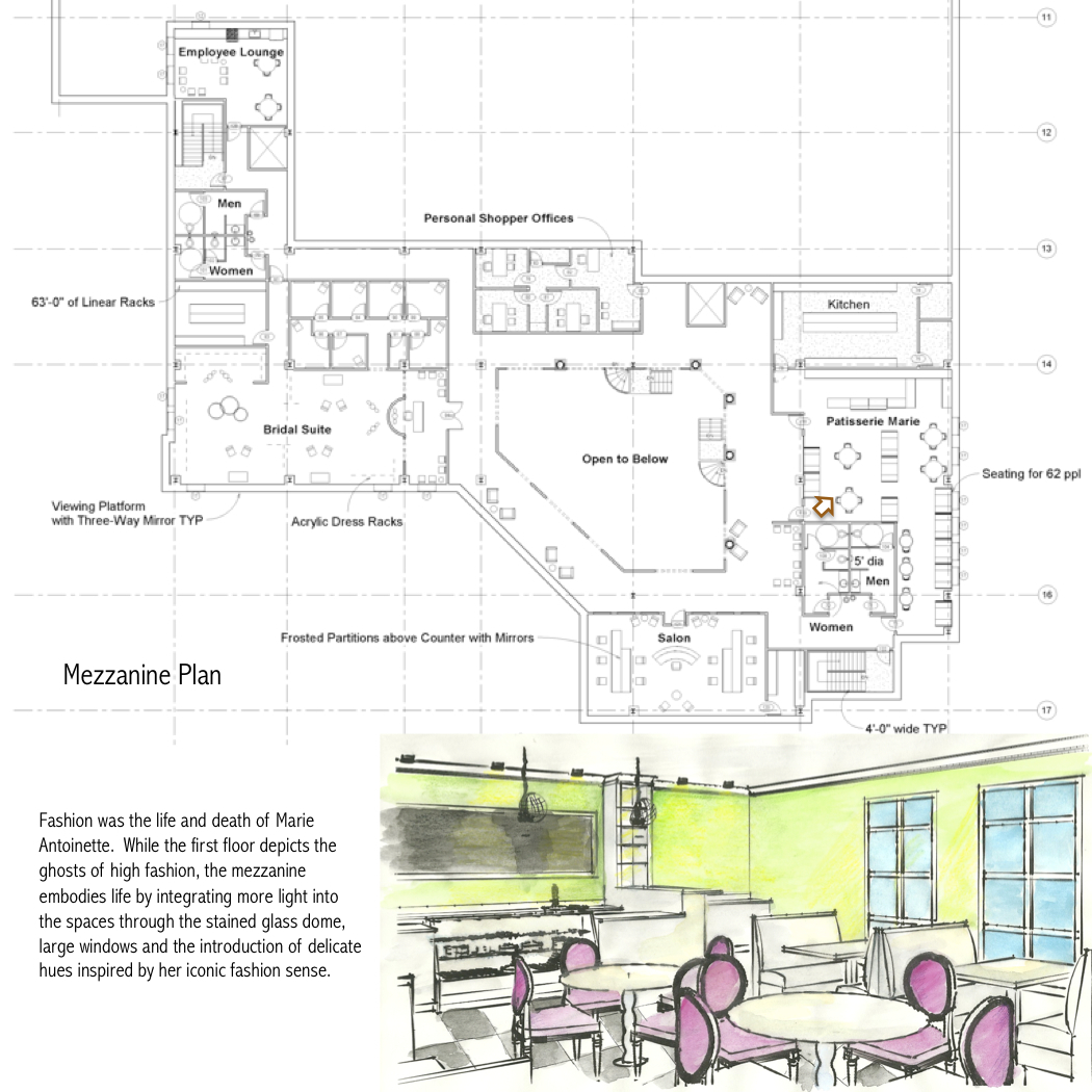 Second Flor Plan and interior perspective of Patisserie Marie